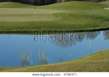 Golf Course Green With Water Hazard