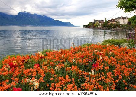 Landscape With Flowers And Lake Geneva, Montreux, Switzerland.