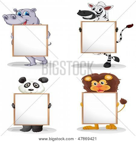 Illustration of the four different animals with empty whiteboards on a white background
