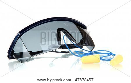Eyeglasses tools and earplugs isolated on white