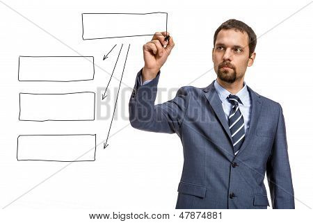 begeisterter Unternehmer zeichnen Sie ein Blockdiagramm - isolated on white background