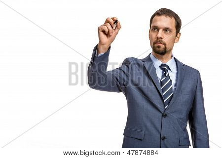 shrewd entrepreneur describes ... - isolated on white background