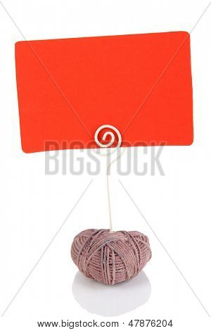 Beautiful holder in form of heart with memo isolated on white