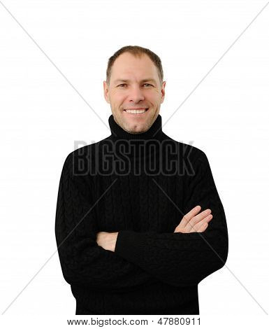 Smiling Man In Black Isolated On The White Background