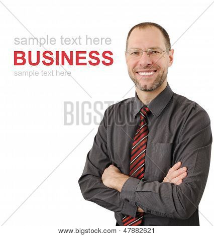 Smiling Business Man Isolated On White Background