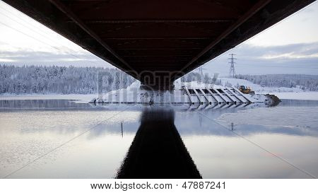 Road Bridge. View From Below. Winter Landscape