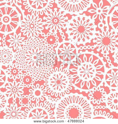 Crochet circle ornament flowers pink and white seamless pattern, vector