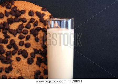 Chocolate Chip Cookie And Milk  Room For Text