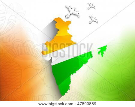 Republic of India map in Indian tricolors and flying pigeons concept for Indian Independence Day or Republic Day.