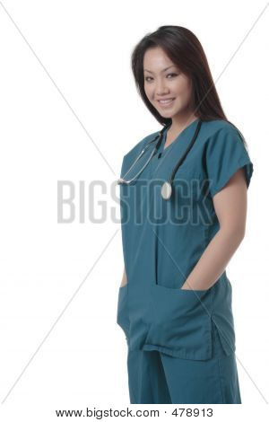 Attractive Asian Nurse In Scurbs