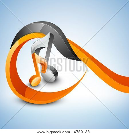 Abstract musical notes on shiny wave background.