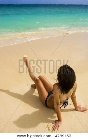 Polynesian Girl In  A Black Bikini