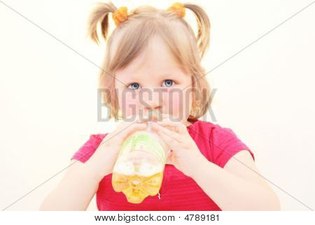 Drinking, Girl, Kid, Bottle.