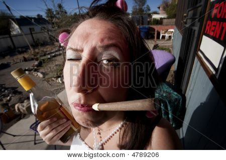 Hispanic Woman On Back Patio