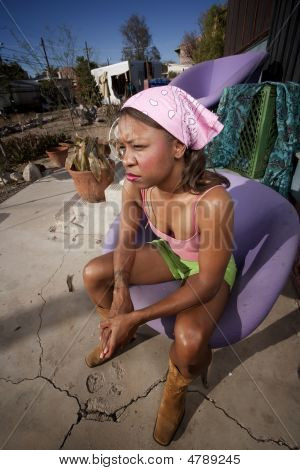 Black Woman On Back Patio