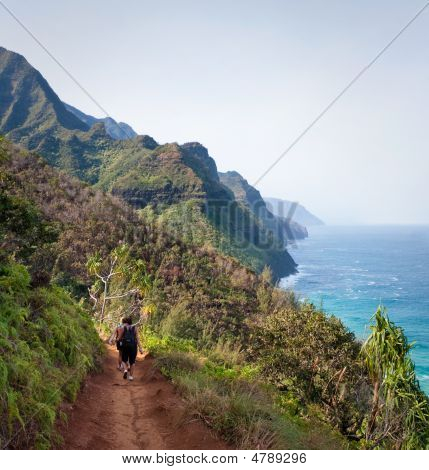 Female Hikers On Kalalau Trail Kauai