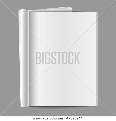 Revista doblada en blanco