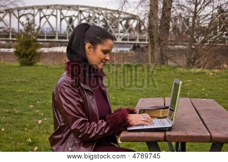 Young Professional Woman At Park Working On Laptop