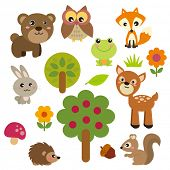 stock photo of cartoon animal  - Cute Forest Animals - JPG