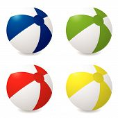 picture of beach-ball  - Collection of four different colored beach balls with drop shadow - JPG