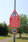stock photo of mph  - UK road narrows - JPG