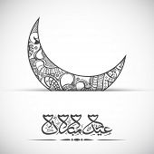 stock photo of eid festival celebration  - Beautifully floral design decorated crescent moon with arabic islamic calligraphy of text Eid Mubarak concept for muslim community festival Eid Al Fitr - JPG