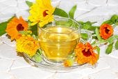 stock photo of home remedy  - Fresh colourful orange flowers of the Pot marigold or Calendula officinalus surrounding a cup of herbal tea used as a bactericide anti - JPG