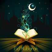 foto of quran  - vector illustration of Quran on Eid Mubarak  - JPG