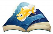 image of storybook  - Illustration of an open storybook with a smiling shark on a white background - JPG