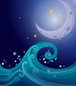 stock photo of tide  - Illustration of an image of the sea waves with a moon - JPG