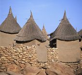 foto of dogon  - Traditional Graineries Dogon village Tireli Mali - JPG