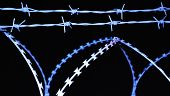 bluish barbed wire on dark background