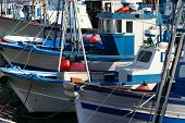 image of tarifa  - Colored fishing ships tied in Tarifa Harbour Spain - JPG