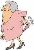 picture of fart  - This illustration depicts an old woman hiking her dress to break wind - JPG