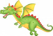 stock photo of dragon head  - Vector illustration of Cute dragon cartoon flying - JPG