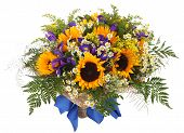 stock photo of goldenrod  - Flower Arrangement of sunflowers daisies ferns and goldenrod - JPG