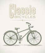 image of dynamo  - Vintage illustration with a classic cruiser bicycle - JPG