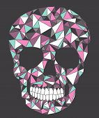 stock photo of voodoo  - Skull with geometric triangle colorful pattern on black background - JPG