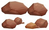 stock photo of natural resources  - Illustration of the big and small rocks on a white background - JPG