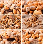 stock photo of mixed nut  - Nuts mix with roasted cashew nut and pistachio - JPG