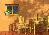Sunny Terrace With Flowers And Furniture poster