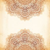 pic of mehndi  - Ornate vintage beige vector background in mehndi style - JPG