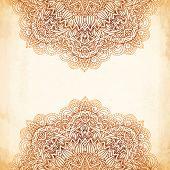 foto of mehndi  - Ornate vintage beige vector background in mehndi style - JPG