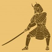 picture of shogun  - An armored samurai in carved style illustration - JPG