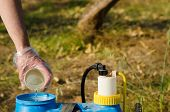 stock photo of pesticide  - Hand with plastic glove filling pesticide into a garden sprayer - JPG