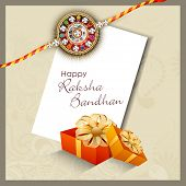 stock photo of rakhi  - Indian festival background with beautiful rakhi and gift boxes - JPG