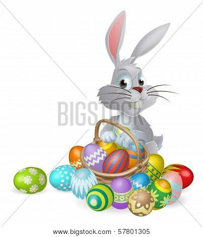 White Easter Bunny And Chocolate Eggs