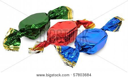 Three Candy On White Background