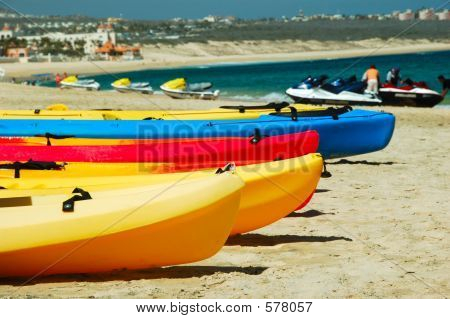 Kayaks Waiting Patiently