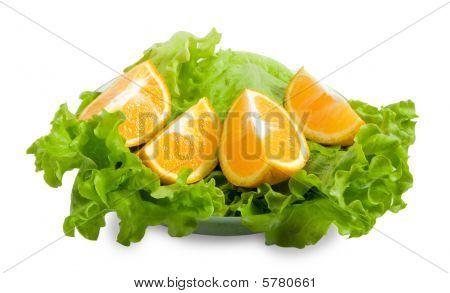 Lettuce And Halfs Of Orange